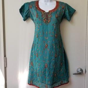 Embellished Side Slit Tunic Syle Kurti